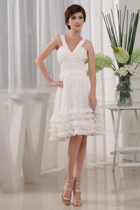 Ruffles A-Line Chiffon V-neck Knee-length School Summer Party Dress White in Pierre